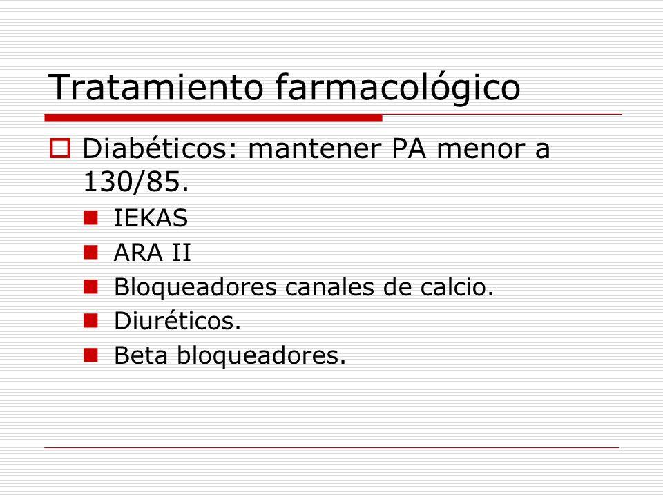 Tratamiento farmacológico Diabéticos: mantener PA menor a 130/85. IEKAS ARA II Bloqueadores canales de calcio. Diuréticos. Beta bloqueadores.