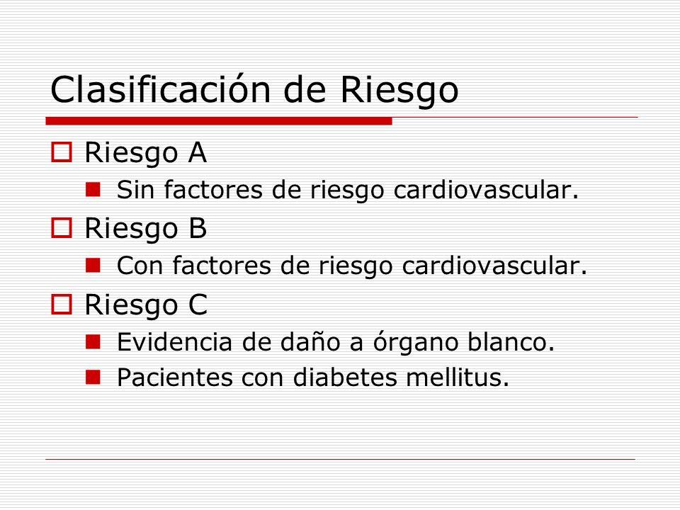 Clasificación de Riesgo Riesgo A Sin factores de riesgo cardiovascular. Riesgo B Con factores de riesgo cardiovascular. Riesgo C Evidencia de daño a ó