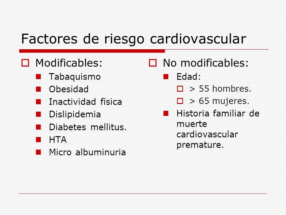 Factores de riesgo cardiovascular Modificables: Tabaquismo Obesidad Inactividad física Dislipidemia Diabetes mellitus. HTA Micro albuminuria No modifi