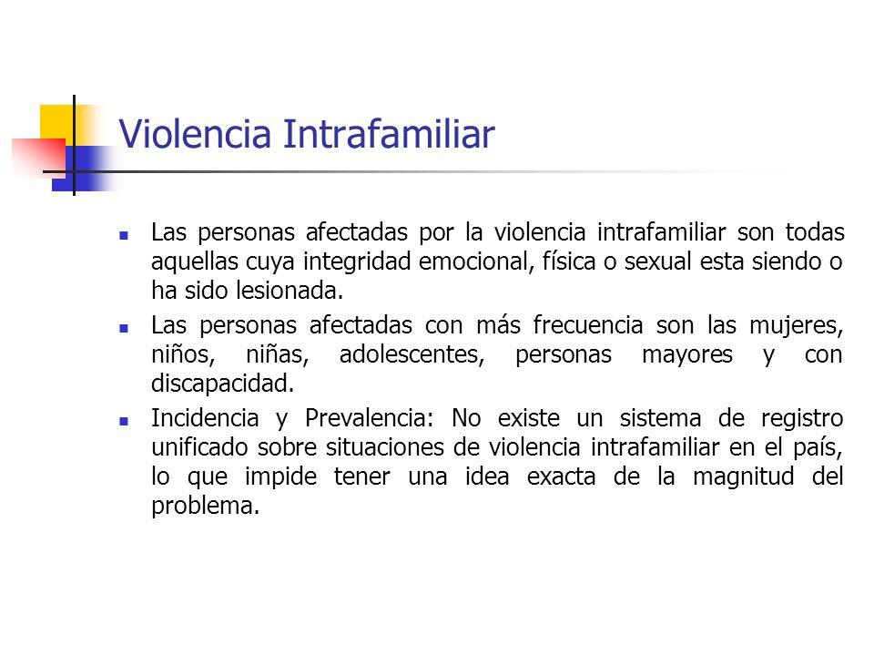 Violencia Intrafamiliar Las personas afectadas por la violencia intrafamiliar son todas aquellas cuya integridad emocional, física o sexual esta siend
