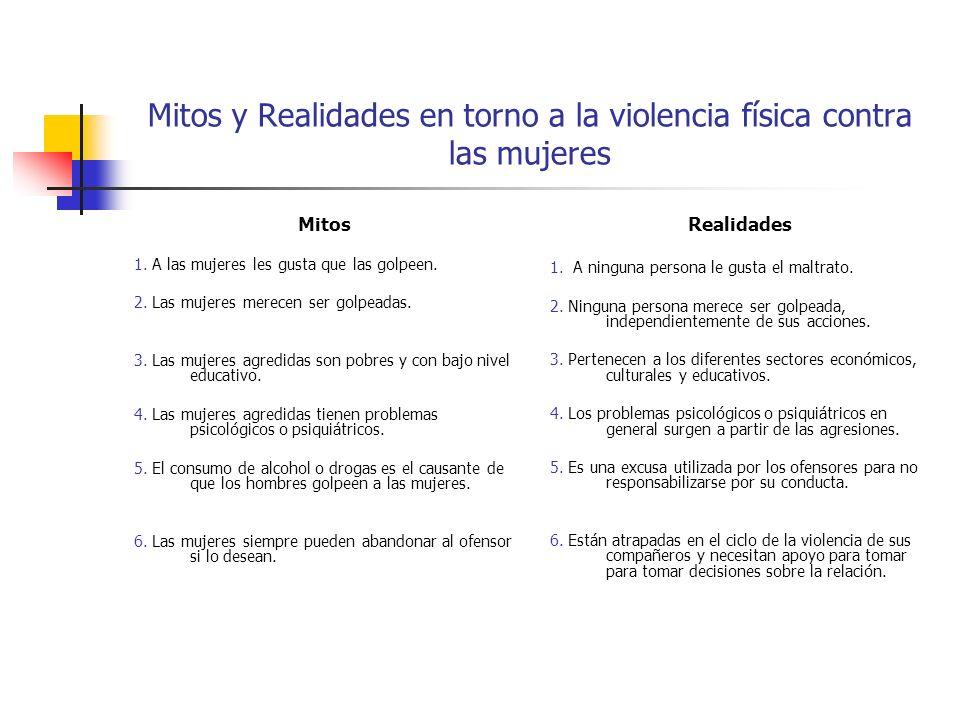 Mitos y Realidades en torno a la violencia física contra las mujeres Mitos 1. A las mujeres les gusta que las golpeen. 2. Las mujeres merecen ser golp