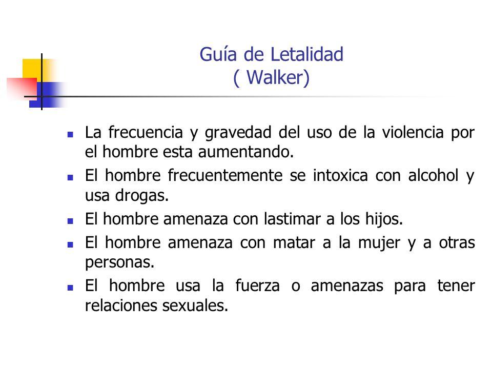 Guía de Letalidad ( Walker) La frecuencia y gravedad del uso de la violencia por el hombre esta aumentando. El hombre frecuentemente se intoxica con a
