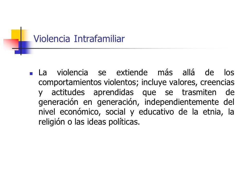 Violencia Intrafamiliar La violencia se extiende más allá de los comportamientos violentos; incluye valores, creencias y actitudes aprendidas que se t