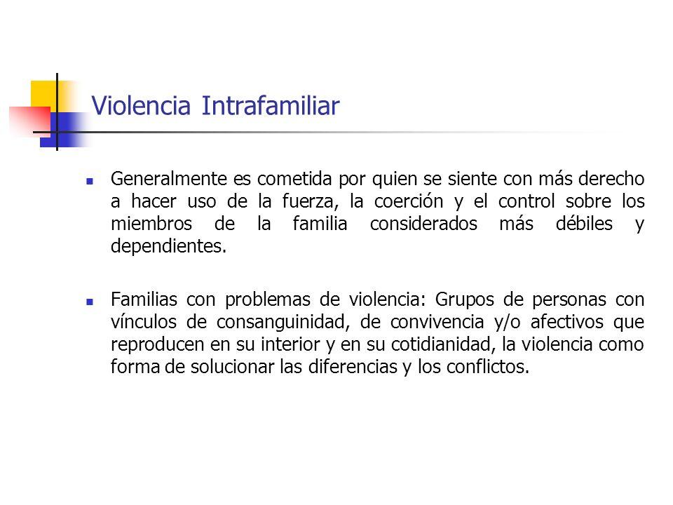 Violencia Intrafamiliar Generalmente es cometida por quien se siente con más derecho a hacer uso de la fuerza, la coerción y el control sobre los miem