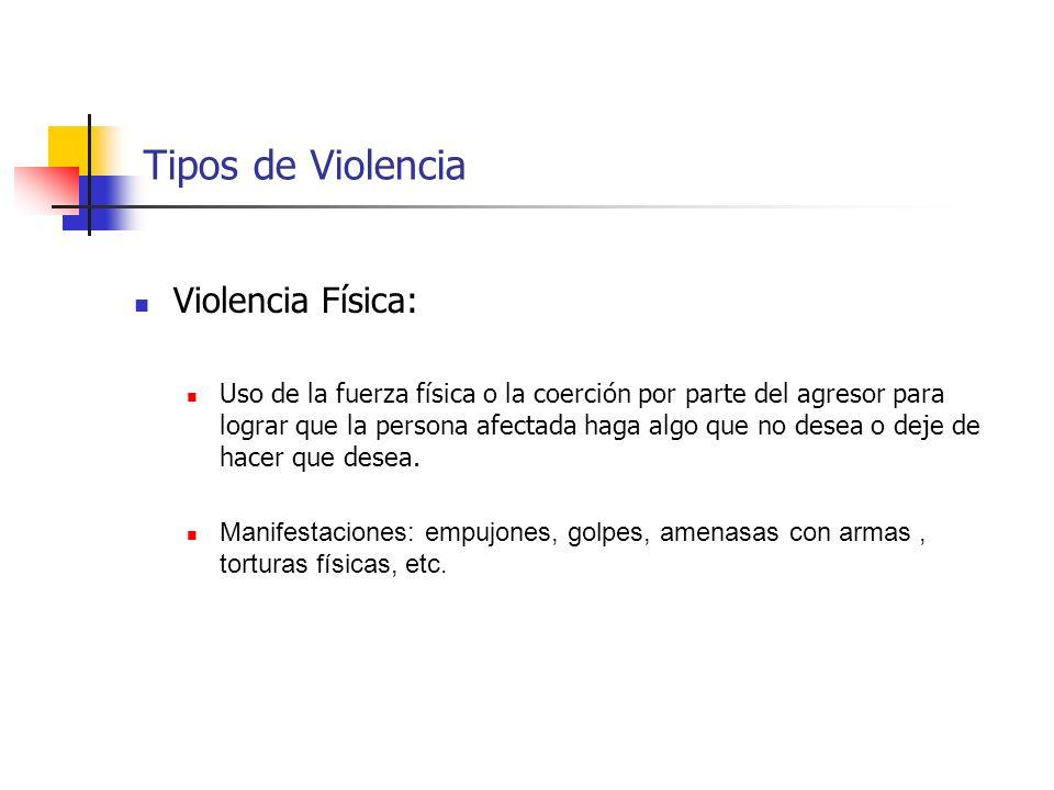 Tipos de Violencia Violencia Física: Uso de la fuerza física o la coerción por parte del agresor para lograr que la persona afectada haga algo que no