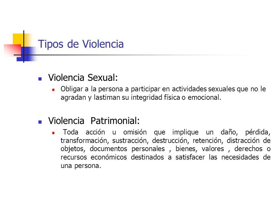 Tipos de Violencia Violencia Sexual: Obligar a la persona a participar en actividades sexuales que no le agradan y lastiman su integridad física o emo