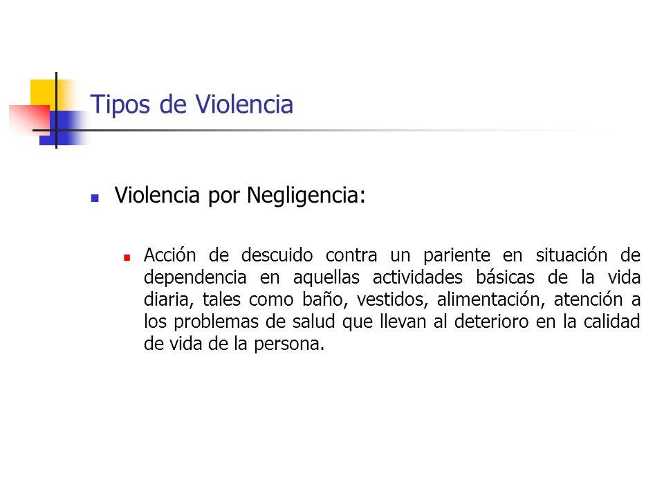 Tipos de Violencia Violencia por Negligencia: Acción de descuido contra un pariente en situación de dependencia en aquellas actividades básicas de la