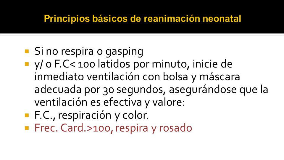 Si no respira o gasping y/ o F.C< 100 latidos por minuto, inicie de inmediato ventilación con bolsa y máscara adecuada por 30 segundos, asegurándose q