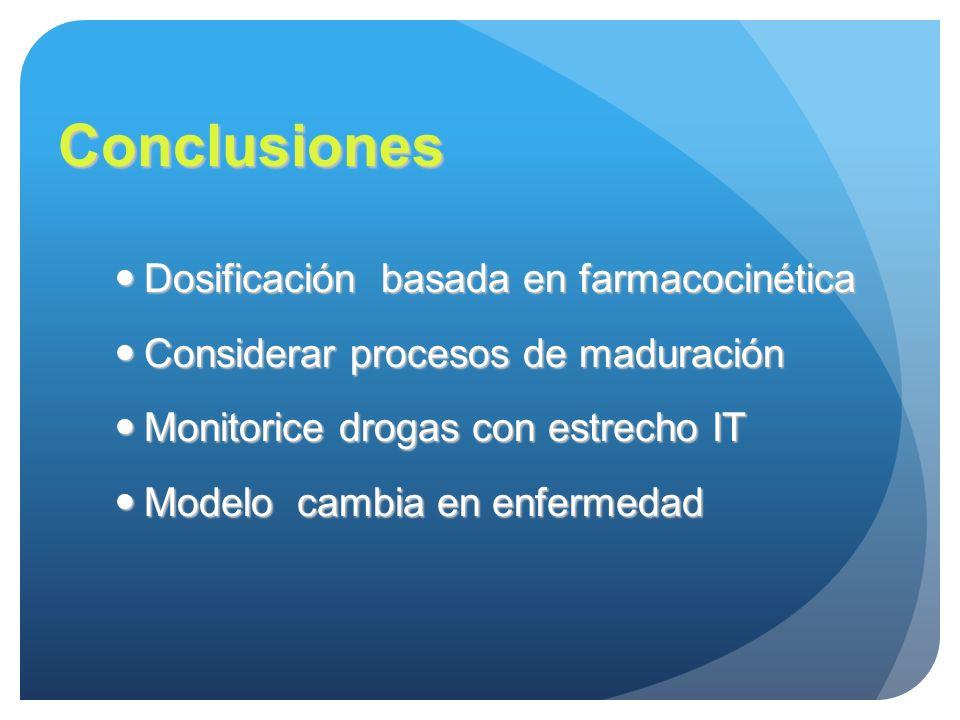 Conclusiones Dosificación basada en farmacocinética Dosificación basada en farmacocinética Considerar procesos de maduración Considerar procesos de ma
