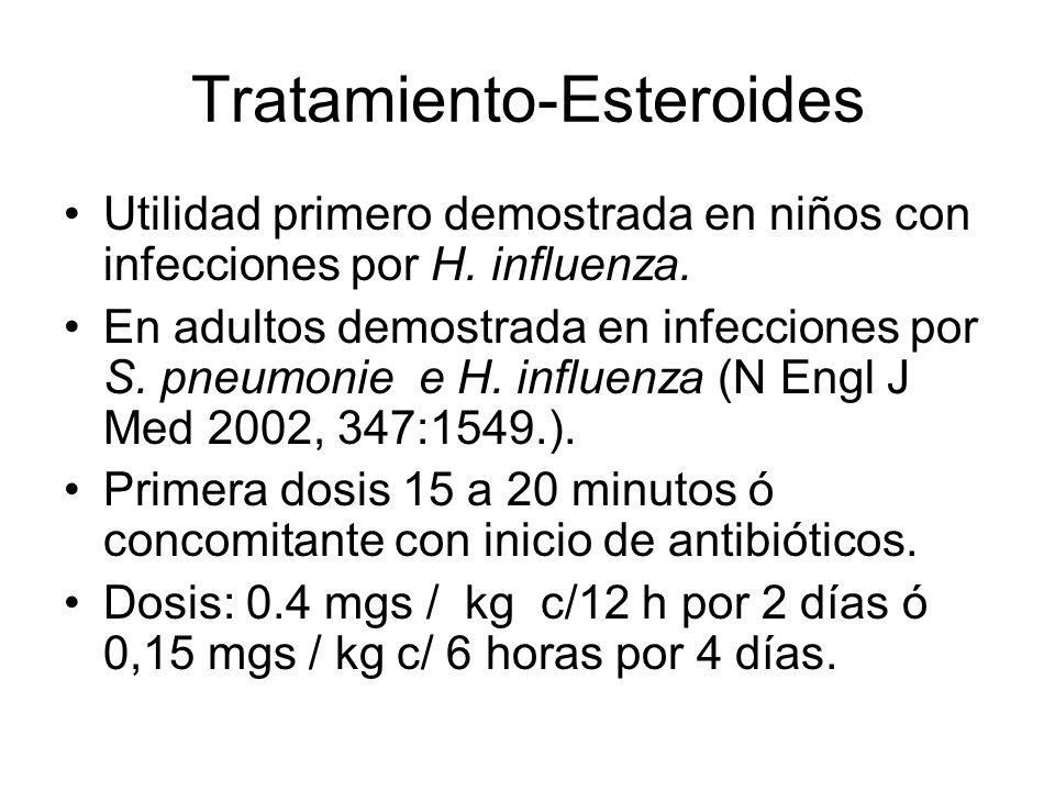 Tratamiento-Esteroides Utilidad primero demostrada en niños con infecciones por H. influenza. En adultos demostrada en infecciones por S. pneumonie e