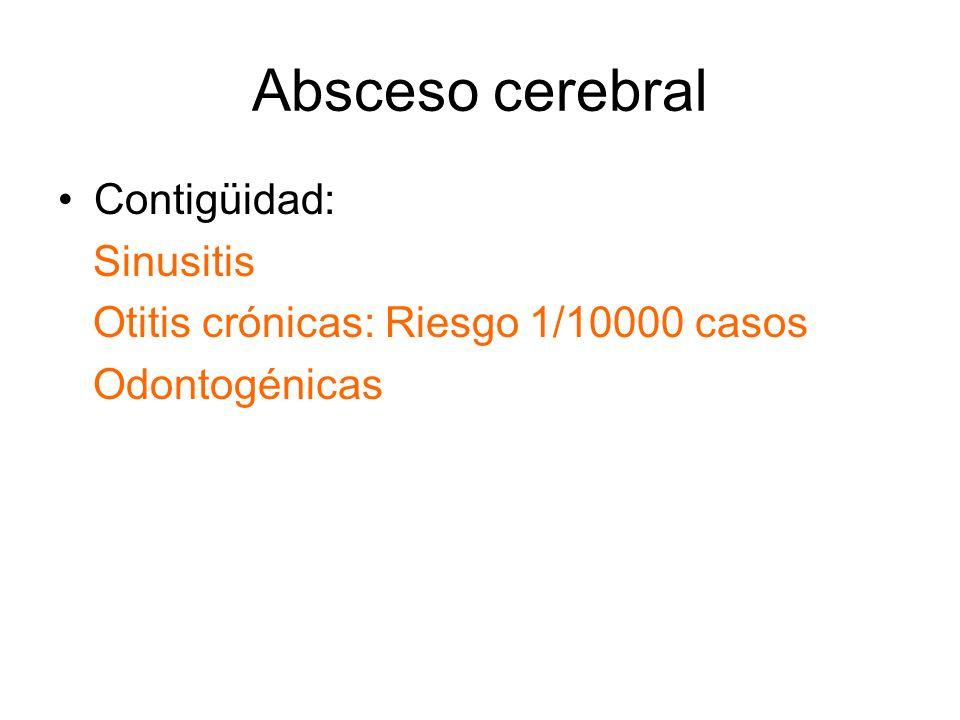 Absceso cerebral Contigüidad: Sinusitis Otitis crónicas: Riesgo 1/10000 casos Odontogénicas