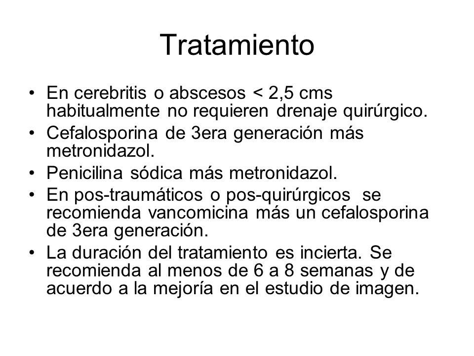 Tratamiento En cerebritis o abscesos < 2,5 cms habitualmente no requieren drenaje quirúrgico. Cefalosporina de 3era generación más metronidazol. Penic