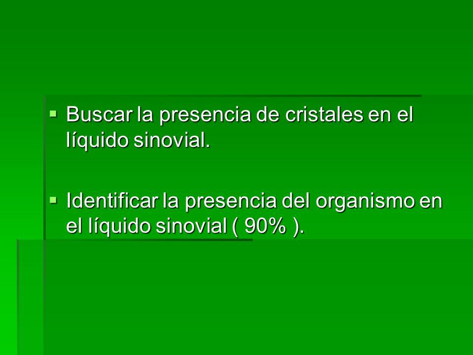 Buscar la presencia de cristales en el líquido sinovial. Buscar la presencia de cristales en el líquido sinovial. Identificar la presencia del organis