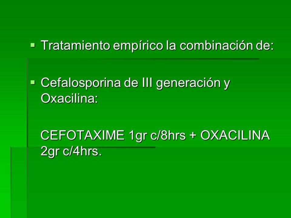 Tratamiento empírico la combinación de: Tratamiento empírico la combinación de: Cefalosporina de III generación y Oxacilina: Cefalosporina de III gene