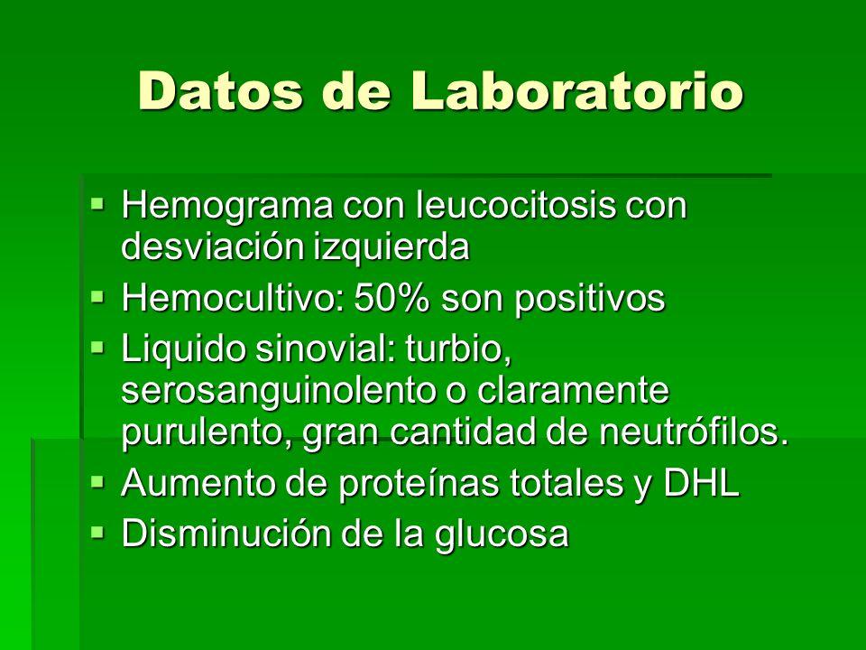 Datos de Laboratorio Hemograma con leucocitosis con desviación izquierda Hemograma con leucocitosis con desviación izquierda Hemocultivo: 50% son posi