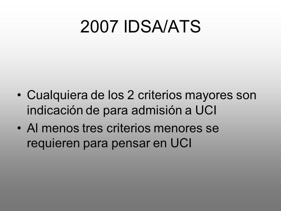 2007 IDSA/ATS Cualquiera de los 2 criterios mayores son indicación de para admisión a UCI Al menos tres criterios menores se requieren para pensar en