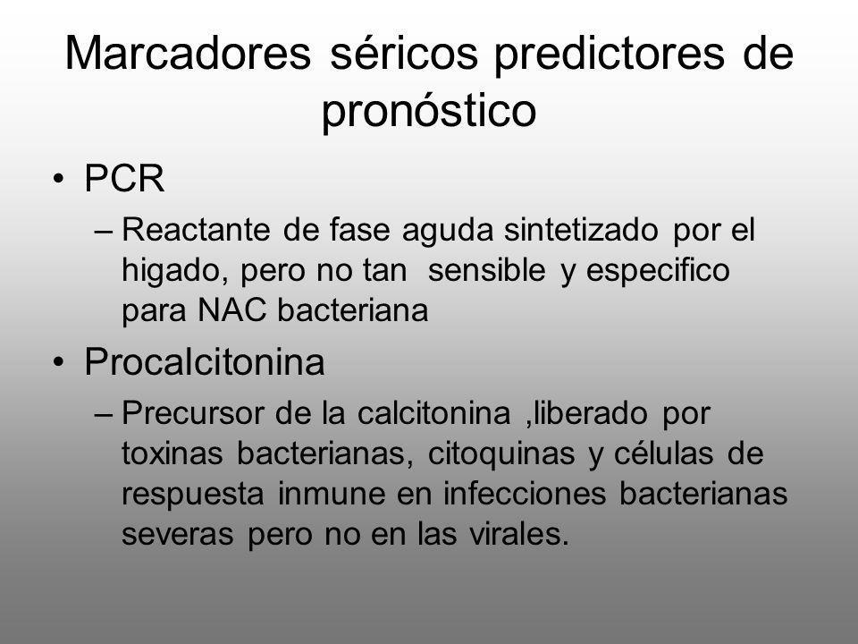 Marcadores séricos predictores de pronóstico PCR –Reactante de fase aguda sintetizado por el higado, pero no tan sensible y especifico para NAC bacter