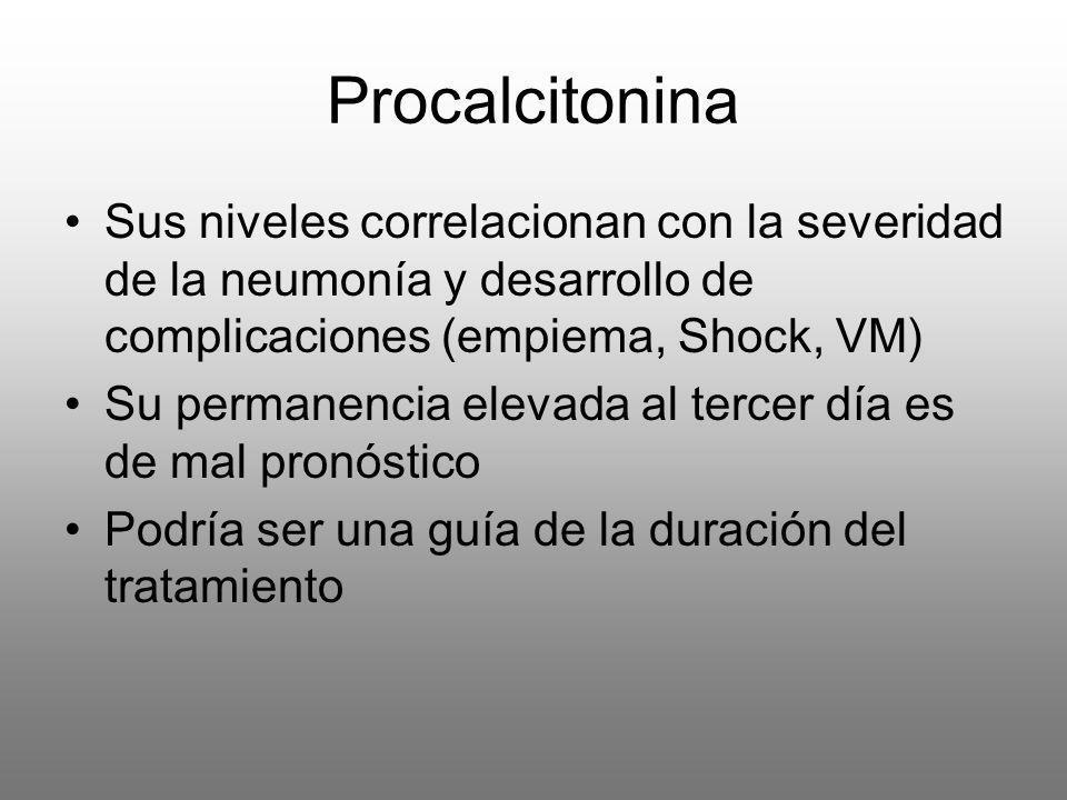 Procalcitonina Sus niveles correlacionan con la severidad de la neumonía y desarrollo de complicaciones (empiema, Shock, VM) Su permanencia elevada al