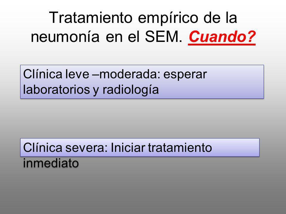 Tratamiento empírico de la neumonía en el SEM. Cuando? Clínica leve –moderada: esperar laboratorios y radiología Clínica severa: Iniciar tratamiento i