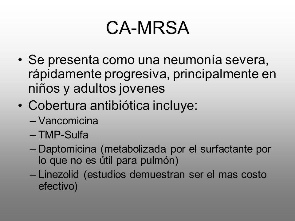 CA-MRSA Se presenta como una neumonía severa, rápidamente progresiva, principalmente en niños y adultos jovenes Cobertura antibiótica incluye: –Vancom