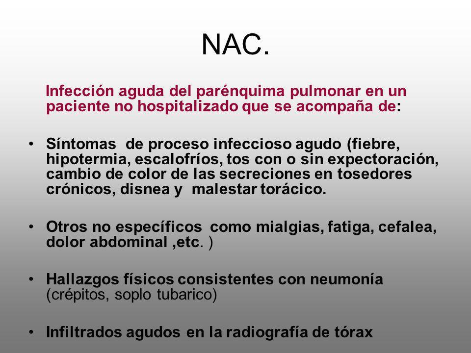 NAC. Infección aguda del parénquima pulmonar en un paciente no hospitalizado que se acompaña de: Síntomas de proceso infeccioso agudo (fiebre, hipoter