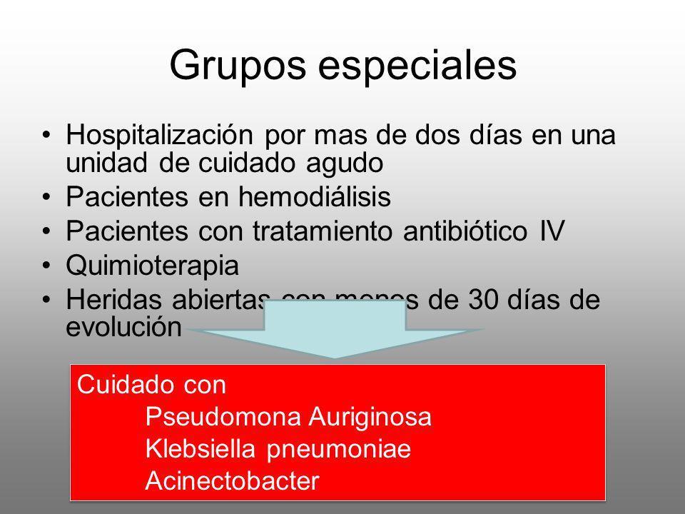 Grupos especiales Hospitalización por mas de dos días en una unidad de cuidado agudo Pacientes en hemodiálisis Pacientes con tratamiento antibiótico I