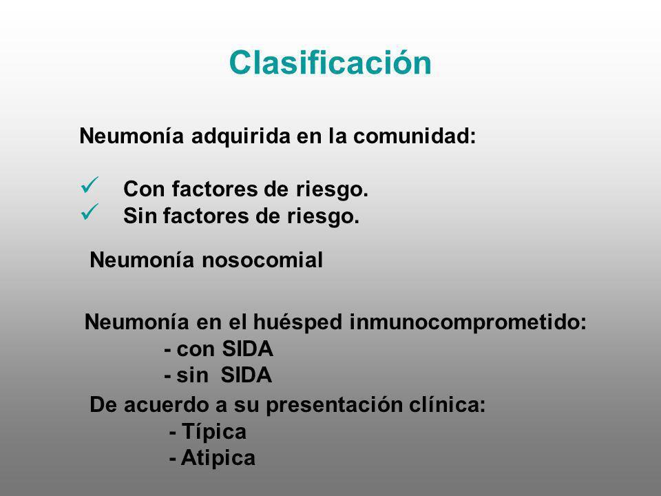 Clasificación Neumonía adquirida en la comunidad: Con factores de riesgo. Sin factores de riesgo. Neumonía nosocomial De acuerdo a su presentación clí