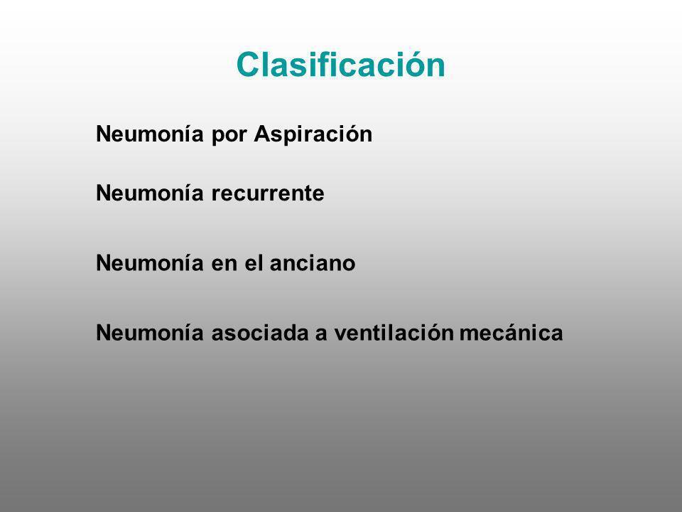 Clasificación Neumonía por Aspiración Neumonía recurrente Neumonía en el anciano Neumonía asociada a ventilación mecánica