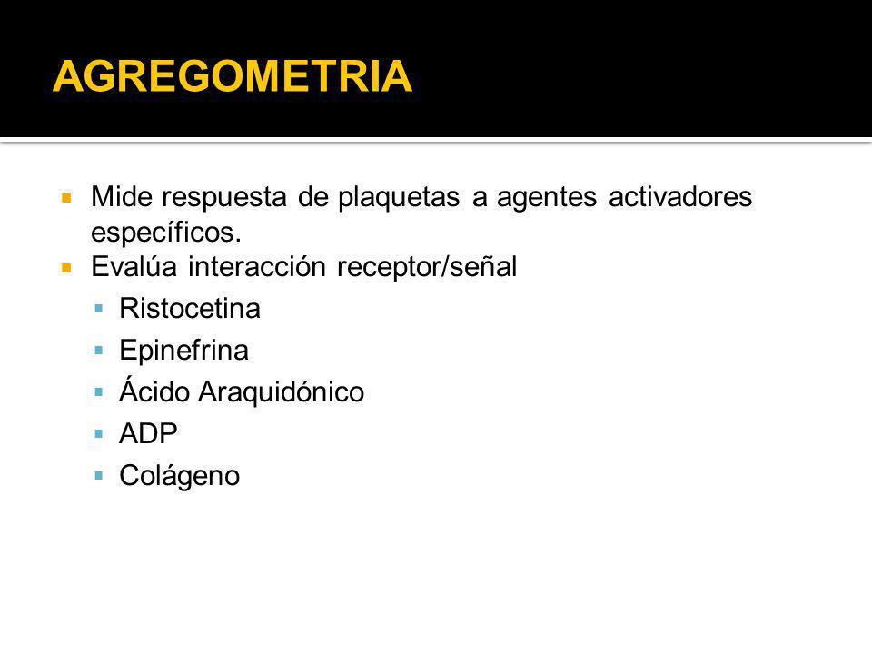 AGREGOMETRIA Mide respuesta de plaquetas a agentes activadores específicos. Evalúa interacción receptor/señal Ristocetina Epinefrina Ácido Araquidónic