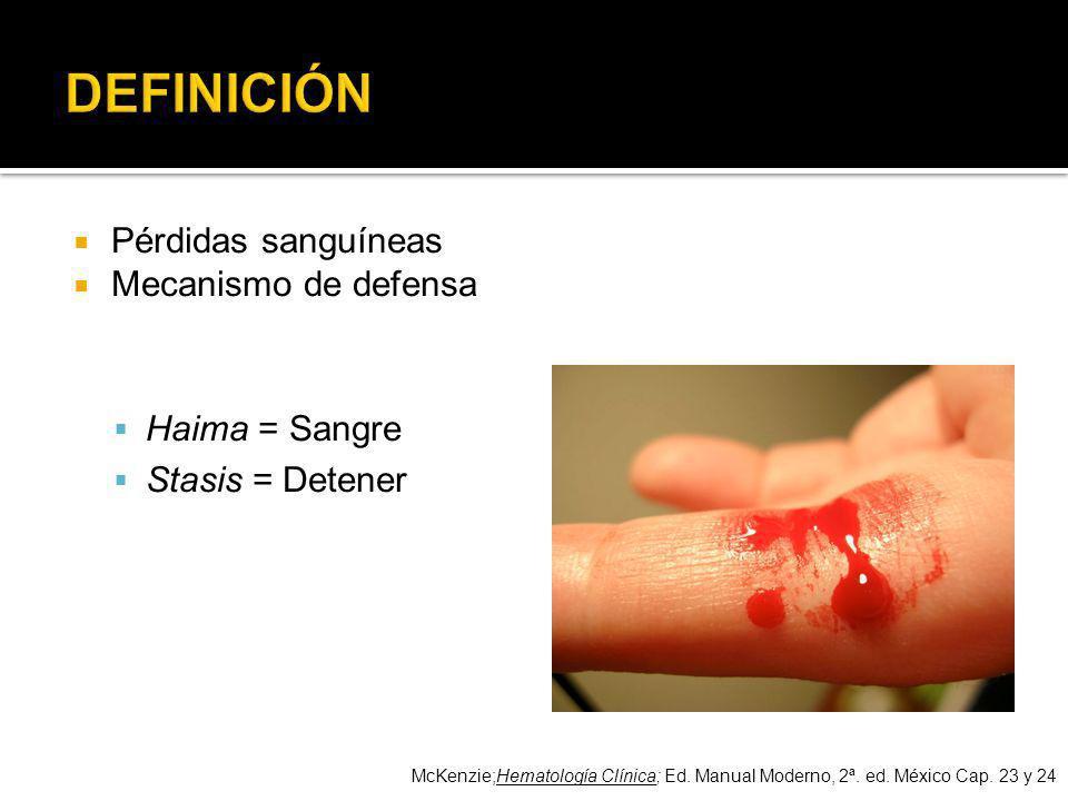 Pérdidas sanguíneas Mecanismo de defensa Haima = Sangre Stasis = Detener McKenzie;Hematología Clínica; Ed. Manual Moderno, 2ª. ed. México Cap. 23 y 24