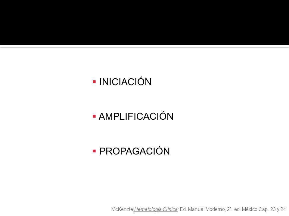 INTRÍNSECAEXTRÍNSECA COMÚN INICIACIÓN AMPLIFICACIÓN PROPAGACIÓN McKenzie;Hematología Clínica; Ed. Manual Moderno, 2ª. ed. México Cap. 23 y 24