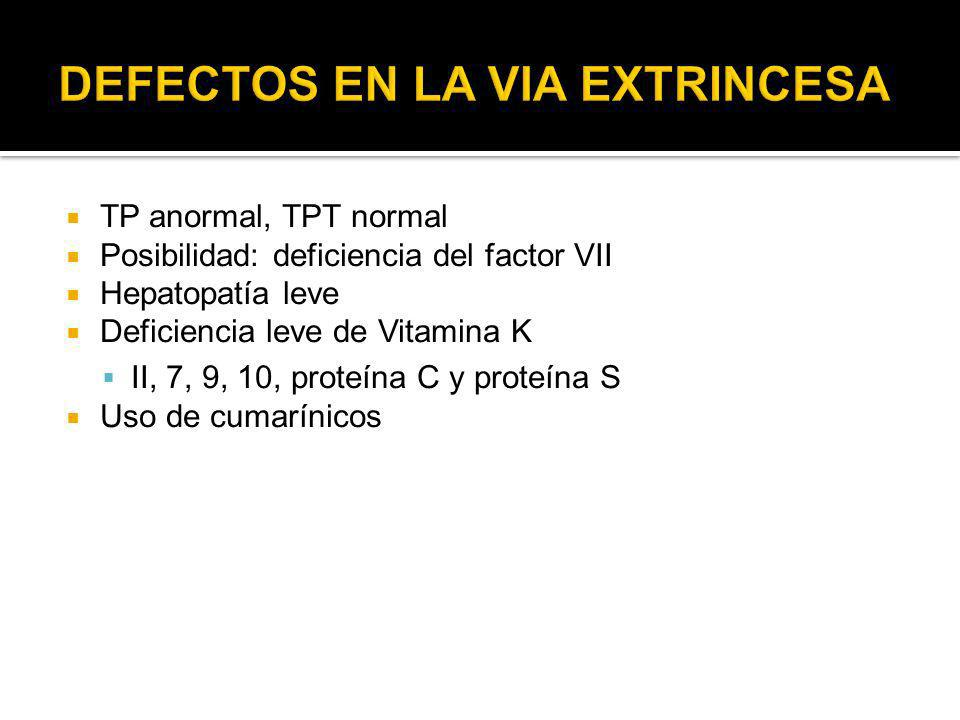 TP anormal, TPT normal Posibilidad: deficiencia del factor VII Hepatopatía leve Deficiencia leve de Vitamina K II, 7, 9, 10, proteína C y proteína S U