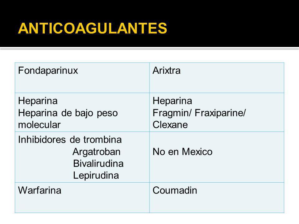 FondaparinuxArixtra Heparina Heparina de bajo peso molecular Heparina Fragmin/ Fraxiparine/ Clexane Inhibidores de trombina Argatroban Bivalirudina Le