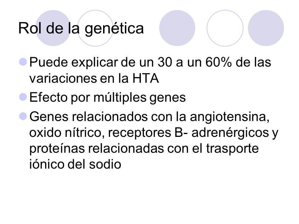 Rol de la genética Puede explicar de un 30 a un 60% de las variaciones en la HTA Efecto por múltiples genes Genes relacionados con la angiotensina, ox