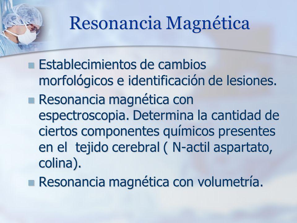 Resonancia Magnética Establecimientos de cambios morfológicos e identificación de lesiones. Establecimientos de cambios morfológicos e identificación