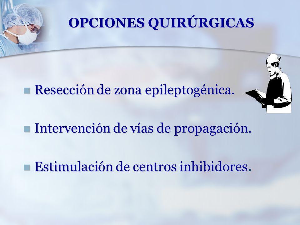 OPCIONES QUIRÚRGICAS Resección de zona epileptogénica. Resección de zona epileptogénica. Intervención de vías de propagación. Intervención de vías de