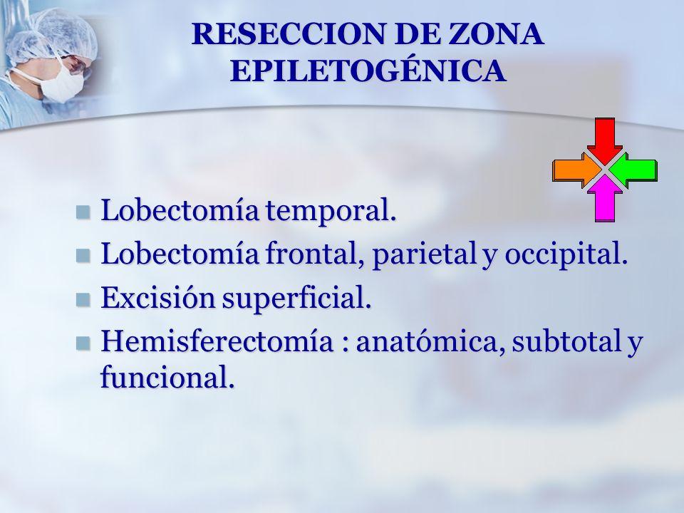 RESECCION DE ZONA EPILETOGÉNICA Lobectomía temporal. Lobectomía temporal. Lobectomía frontal, parietal y occipital. Lobectomía frontal, parietal y occ