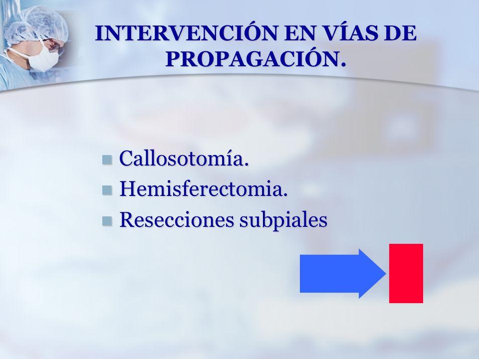 INTERVENCIÓN EN VÍAS DE PROPAGACIÓN. Callosotomía. Callosotomía. Hemisferectomia. Hemisferectomia. Resecciones subpiales Resecciones subpiales