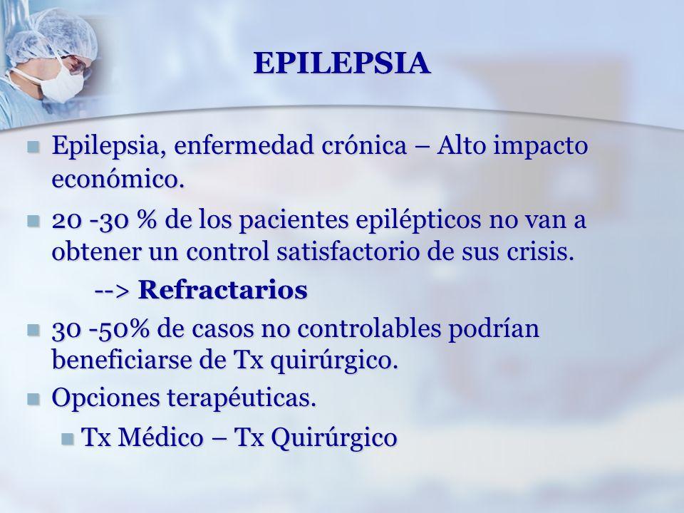 EPILEPSIA Epilepsia, enfermedad crónica – Alto impacto económico. Epilepsia, enfermedad crónica – Alto impacto económico. 20 -30 % de los pacientes ep