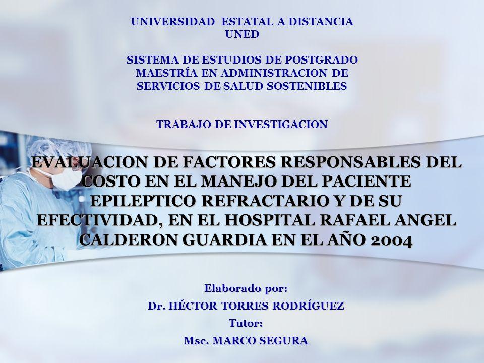 Elaborado por: Dr. HÉCTOR TORRES RODRÍGUEZ Tutor: Msc. MARCO SEGURA UNIVERSIDAD ESTATAL A DISTANCIA UNED SISTEMA DE ESTUDIOS DE POSTGRADO MAESTRÍA EN
