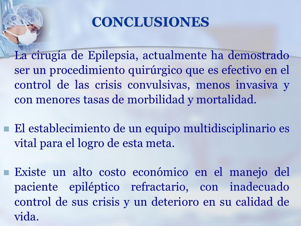 CONCLUSIONES La cirugía de Epilepsia, actualmente ha demostrado ser un procedimiento quirúrgico que es efectivo en el control de las crisis convulsiva