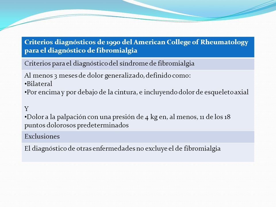 Criterios diagnósticos de 1990 del American College of Rheumatology para el diagnóstico de fibromialgia Criterios para el diagnóstico del síndrome de