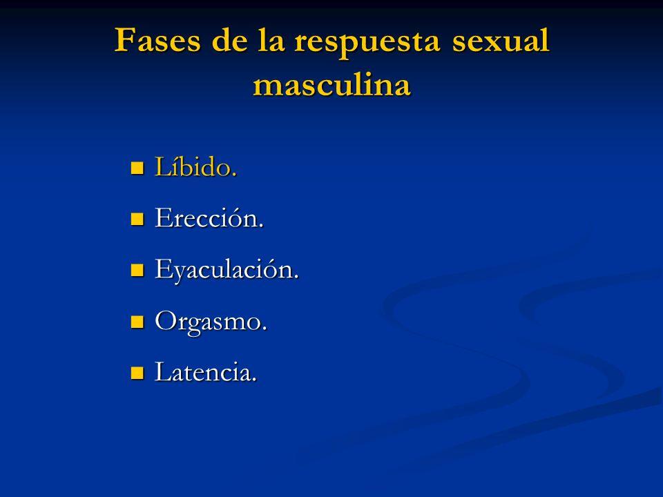 Fases de la respuesta sexual masculina Líbido. Líbido. Erección. Erección. Eyaculación. Eyaculación. Orgasmo. Orgasmo. Latencia. Latencia.