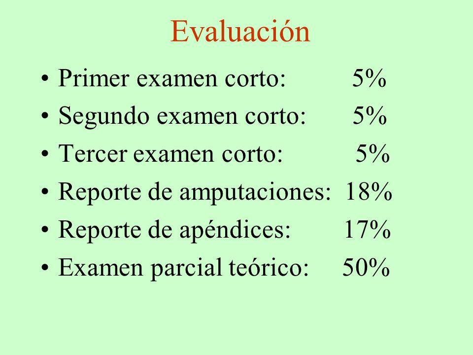 Evaluación Primer examen corto: 5% Segundo examen corto: 5% Tercer examen corto: 5% Reporte de amputaciones: 18% Reporte de apéndices: 17% Examen parc
