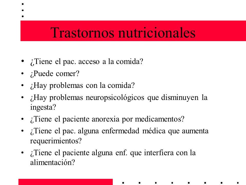 Trastornos nutricionales ¿ Tiene el pac. acceso a la comida? ¿Puede comer? ¿Hay problemas con la comida? ¿Hay problemas neuropsicológicos que disminuy