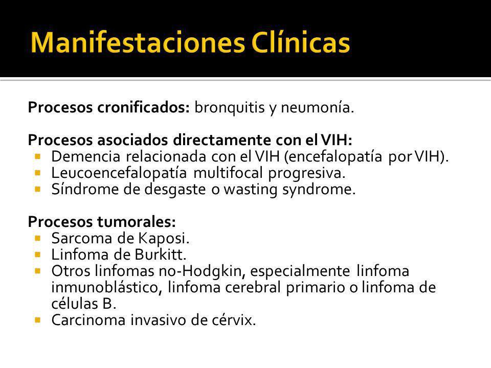 Procesos cronificados: bronquitis y neumonía. Procesos asociados directamente con el VIH: Demencia relacionada con el VIH (encefalopatía por VIH). Leu