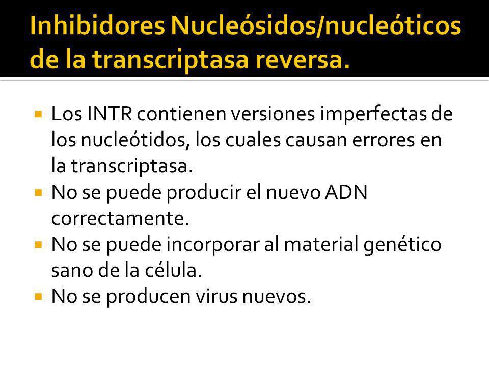 Los INTR contienen versiones imperfectas de los nucleótidos, los cuales causan errores en la transcriptasa. No se puede producir el nuevo ADN correcta