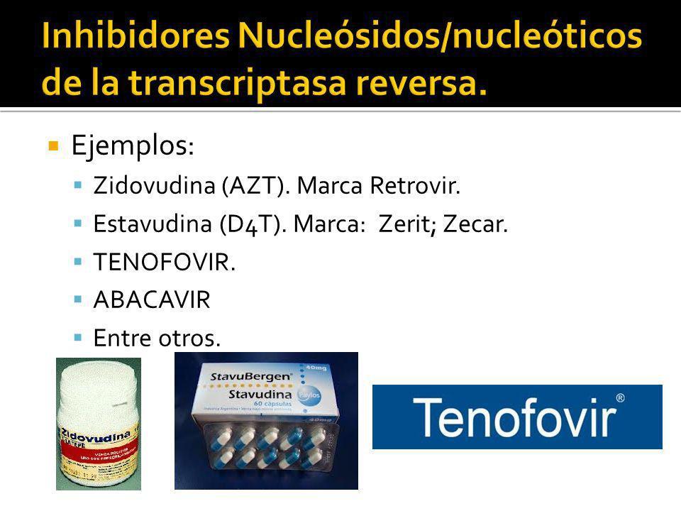 Ejemplos: Zidovudina (AZT). Marca Retrovir. Estavudina (D4T). Marca: Zerit; Zecar. TENOFOVIR. ABACAVIR Entre otros.