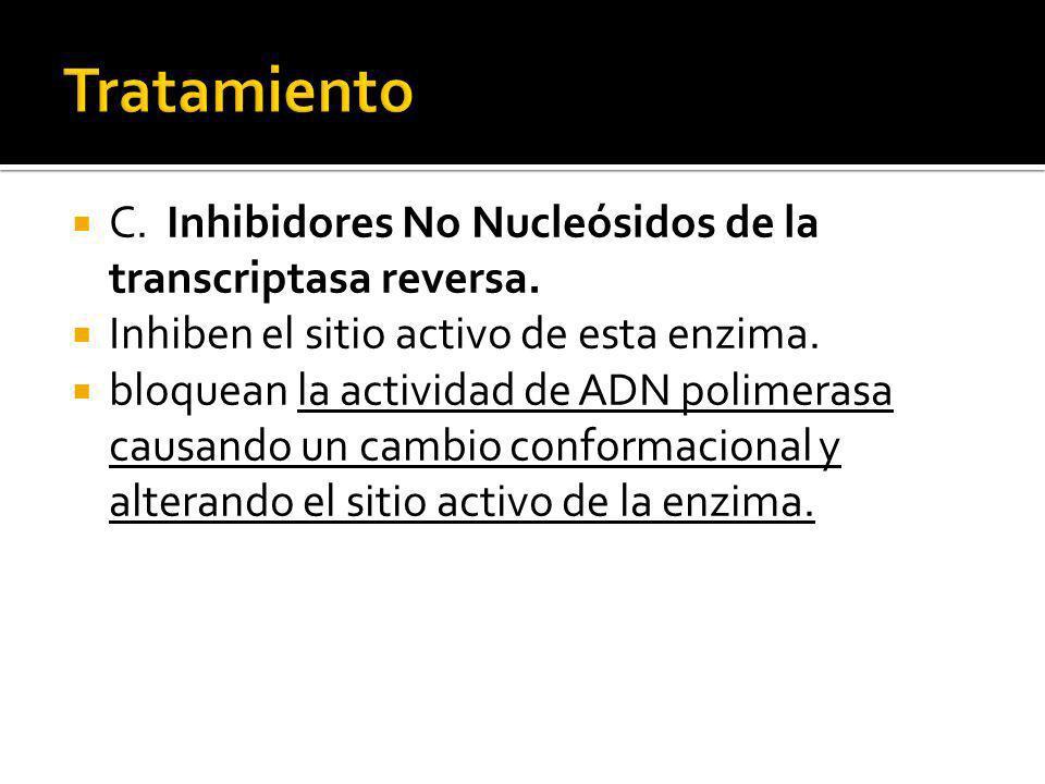 C. Inhibidores No Nucleósidos de la transcriptasa reversa. Inhiben el sitio activo de esta enzima. bloquean la actividad de ADN polimerasa causando un