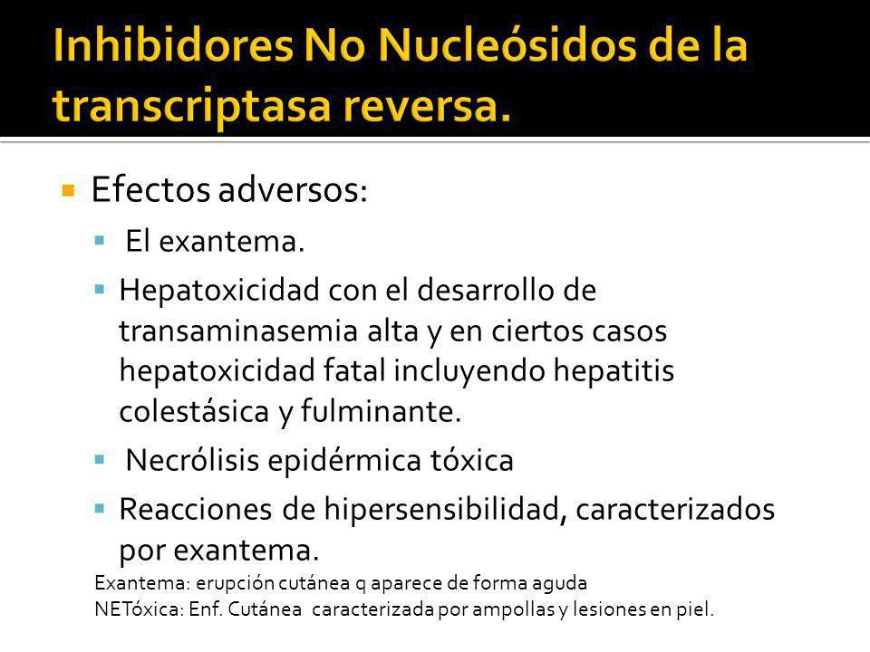 Efectos adversos: El exantema. Hepatoxicidad con el desarrollo de transaminasemia alta y en ciertos casos hepatoxicidad fatal incluyendo hepatitis col